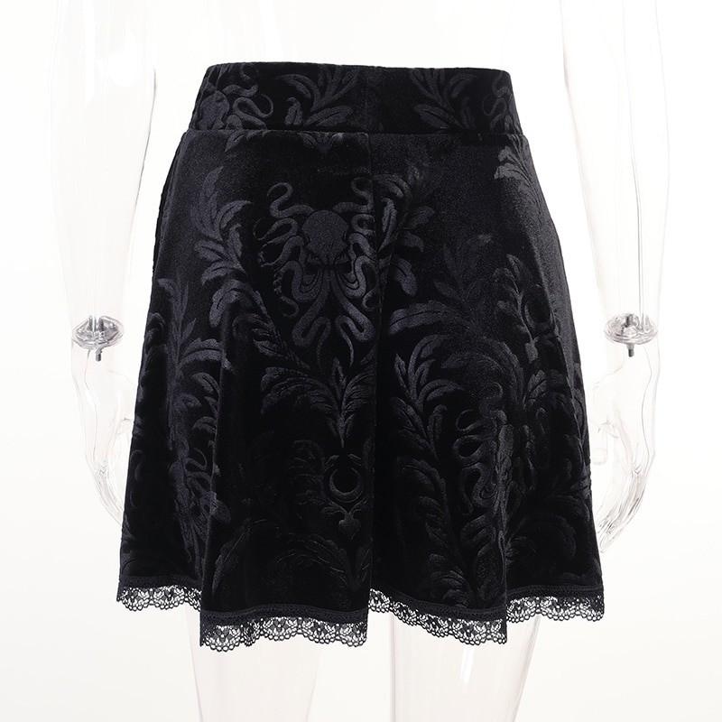 E-girl Pastel Gothic Velvet Skirt with Lace 46