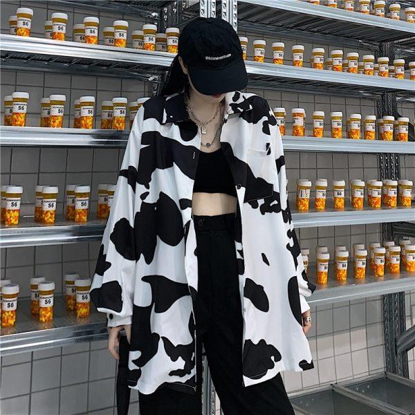 E-girl Harajuku Grunge Cow Print Loose Shirt 1