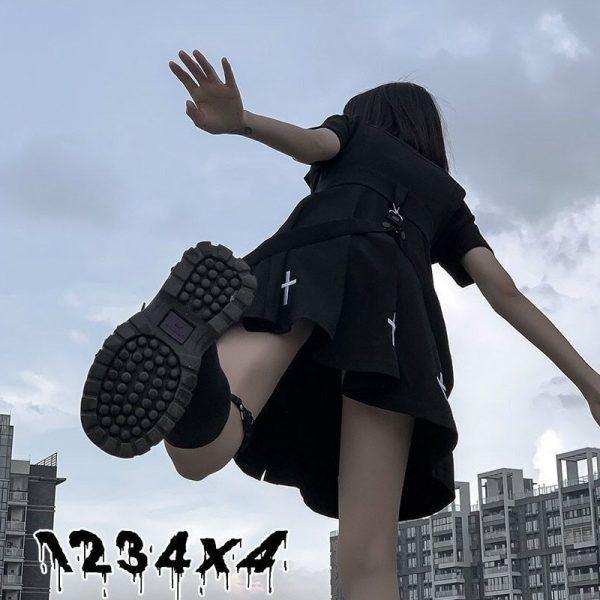 E-girl Pastel Goth Harajuku Dress with cross 5
