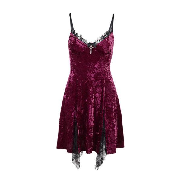 Aesthetic Gothic Egirl Grunge Vintage Velvet Mini Dresses 5