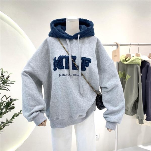 Harajuku E-girl Streetwear Thick Hoodies with Letters 13