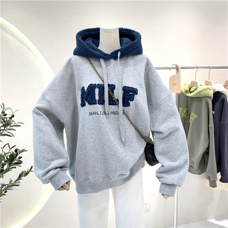 Harajuku E-girl Streetwear Thick Hoodies with Letters 46