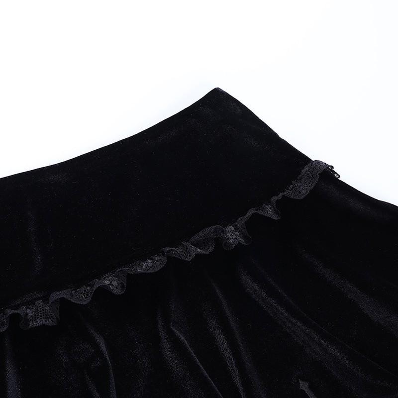 Aesthetic Pastel Gothic E-girl Velvet Mini Skirt with cross embroidery 44