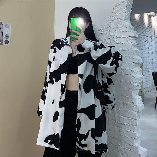 E-girl Harajuku Grunge Cow Print Loose Shirt 2