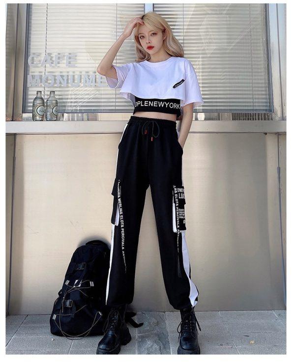 Harajuku Alt Clothes E-girl Streetwear 3 Pieces Set Cargo Pants Sweatshirt and Tank Top 14
