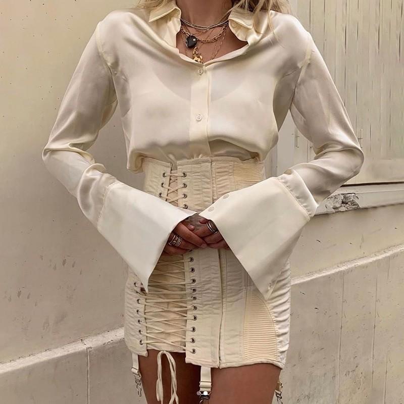 Pastel Gothic E-girl Punk Y2K Mini Lace Up Aesthetic Skirts 46