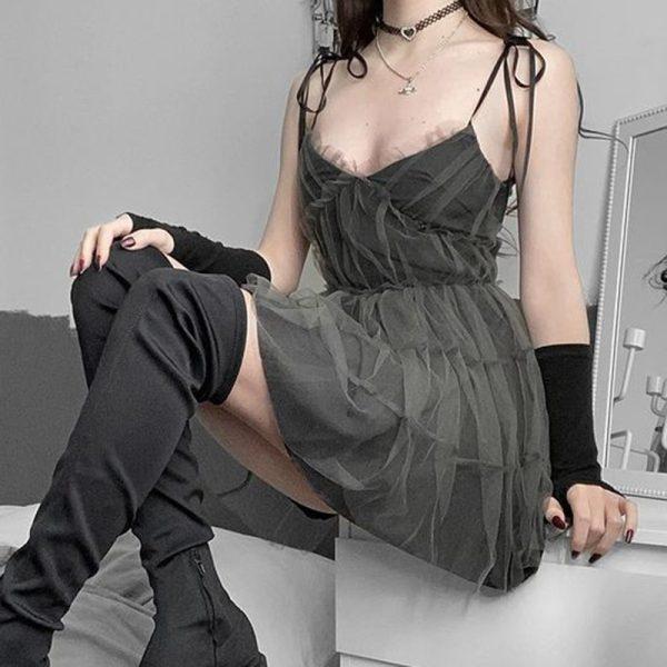 E-girl Pastel Goth Aesthetic Elegant Dress with Mesh 2