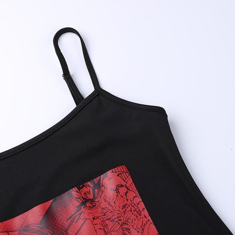 Aesthetic Pastel Gothic Egirl Mini Dress with Anime Death Note Print 50