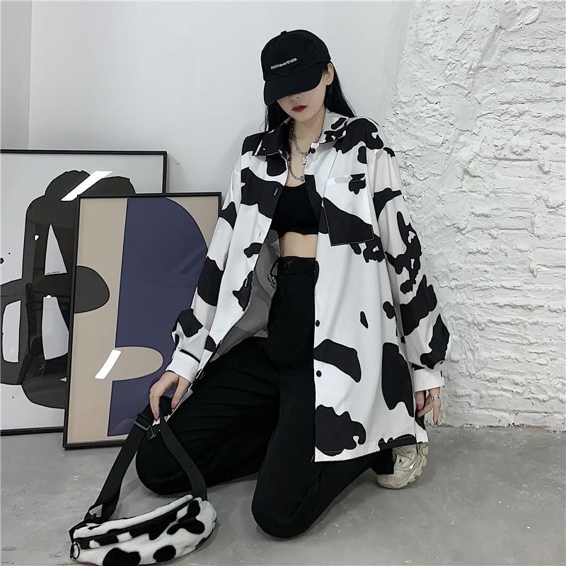 E-girl Harajuku Grunge Cow Print Loose Shirt 43