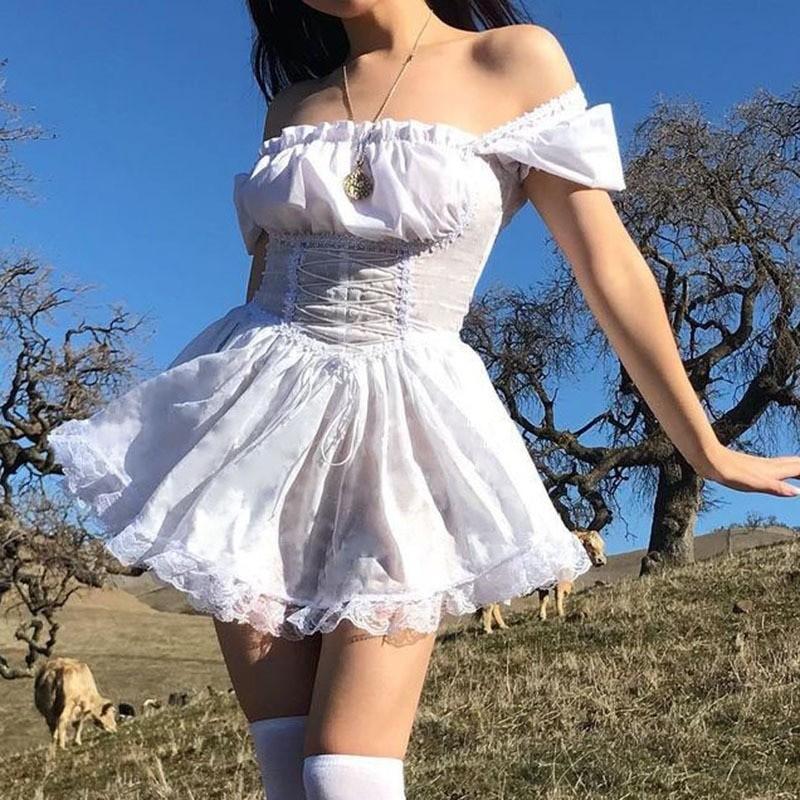 Harajuku E-girl Pastel Goth Soft girl Lolita Princess Mini Dress 50