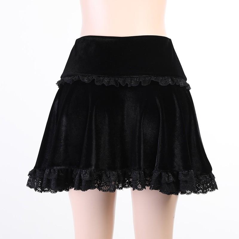 Aesthetic Pastel Gothic E-girl Velvet Mini Skirt with cross embroidery 43