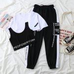 Harajuku Alt Clothes E-girl Streetwear 3 Pieces Set Cargo Pants Sweatshirt and Tank Top 25