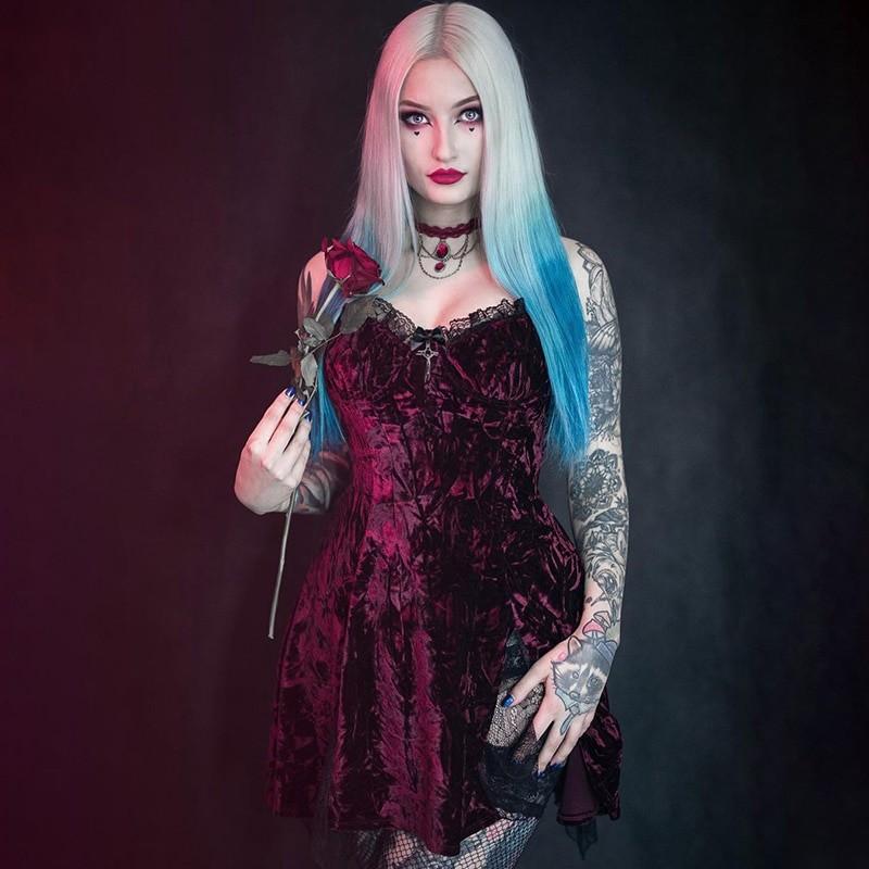 Aesthetic Gothic Egirl Grunge Vintage Velvet Mini Dresses 43
