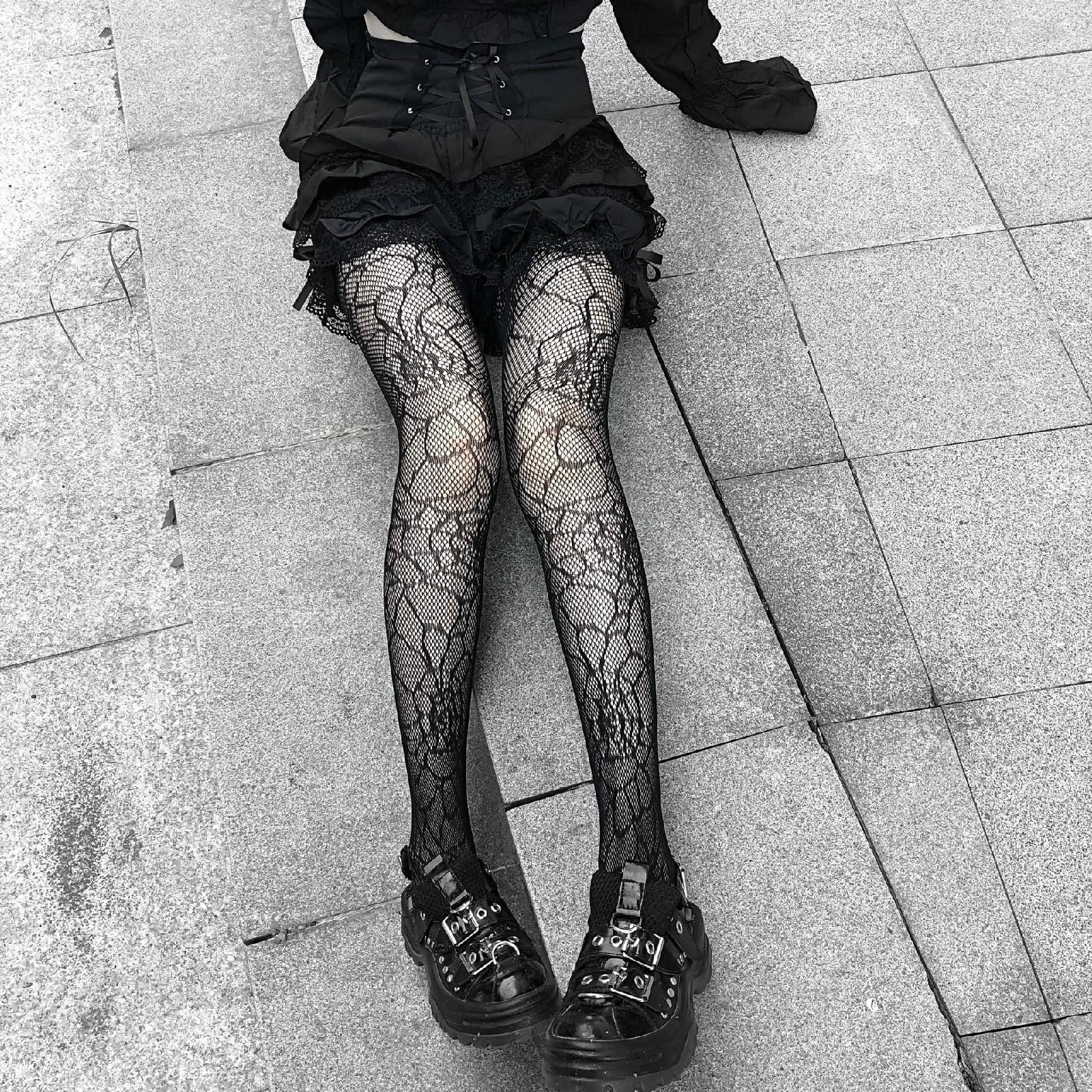 E-girl Pastel Gothic Punk Spiderweb Tights 42