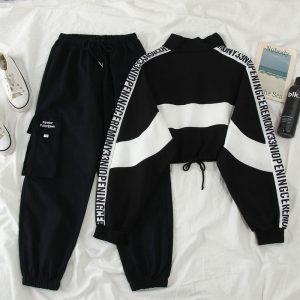 Harajuku 2 Piece Suit Set Cargo Pants and Loose Sweatshirt 1