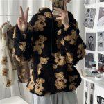 Harajuku Soft girl E-girl E-boy little bear Pattern furry Hoodie 3