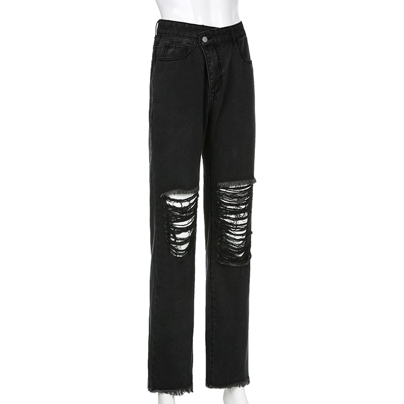 E-girl Punk Grunge Y2K High Waist Jeans with Holes 42