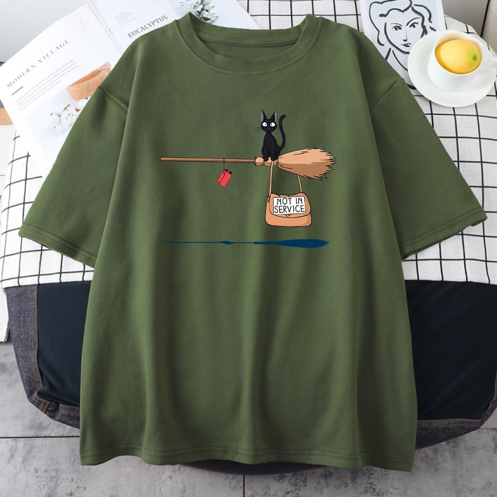Kawaii E-girl Soft girl Pastel Gothic T-shirt with Cute Cat Not In Service Comics Printing 43