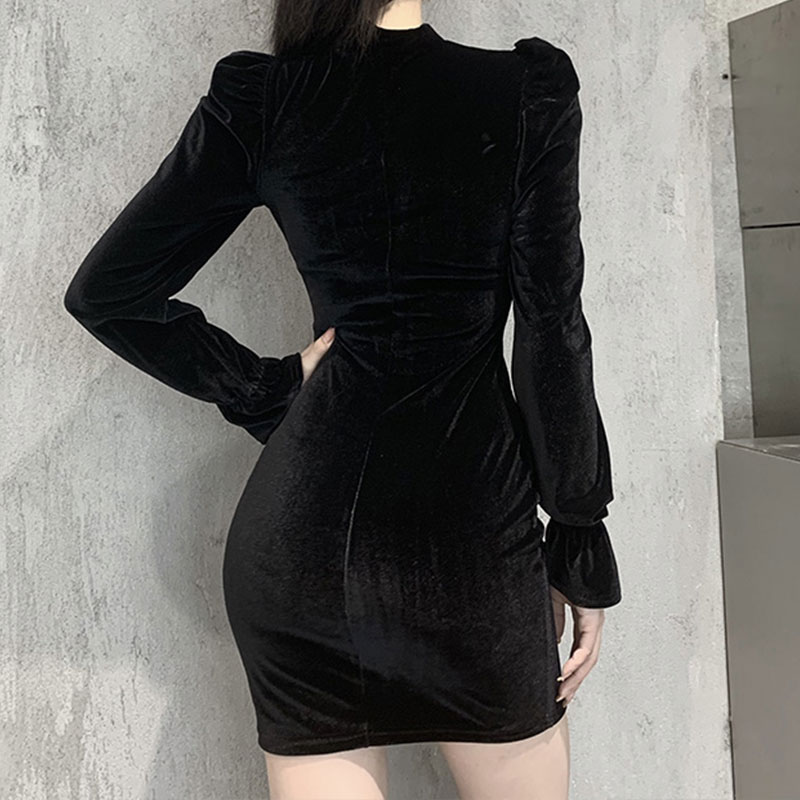 Gothic E-girl Vintage Elegant Black Velvet Dress 46