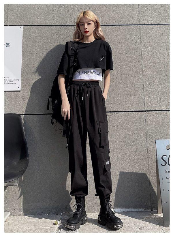 Harajuku Alt Clothes E-girl Streetwear 3 Pieces Set Cargo Pants Sweatshirt and Tank Top 20