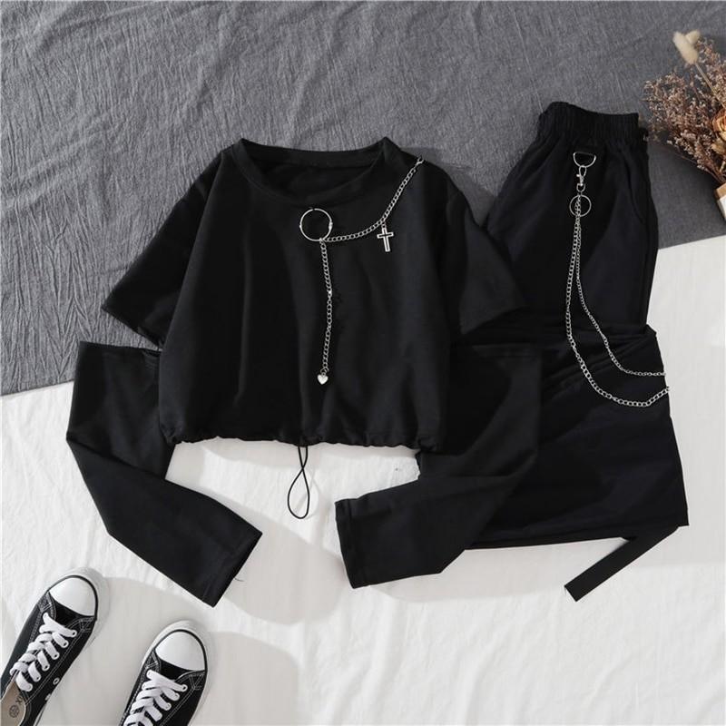 Alt Clothes Style Harajuku Set Cargo Pants and Swaetshirt 44