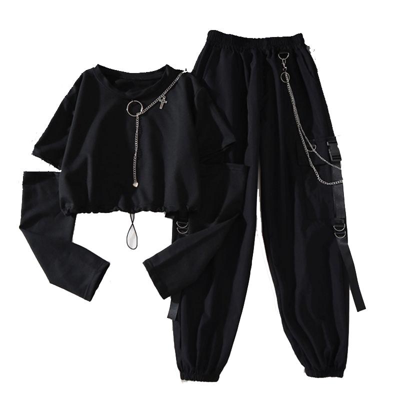 Alt Clothes Style Harajuku Set Cargo Pants and Swaetshirt 41