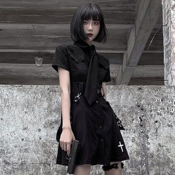 E-girl Pastel Goth Harajuku Dress with cross 1