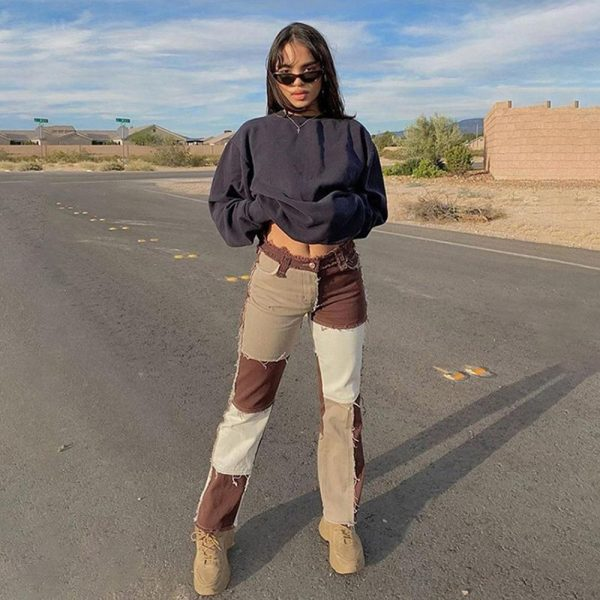 Y2K E-girl Aesthetic Cowboy Patchwork Jeans 2
