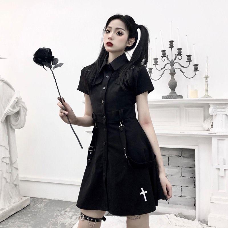 E-girl Pastel Goth Harajuku Dress with cross 49