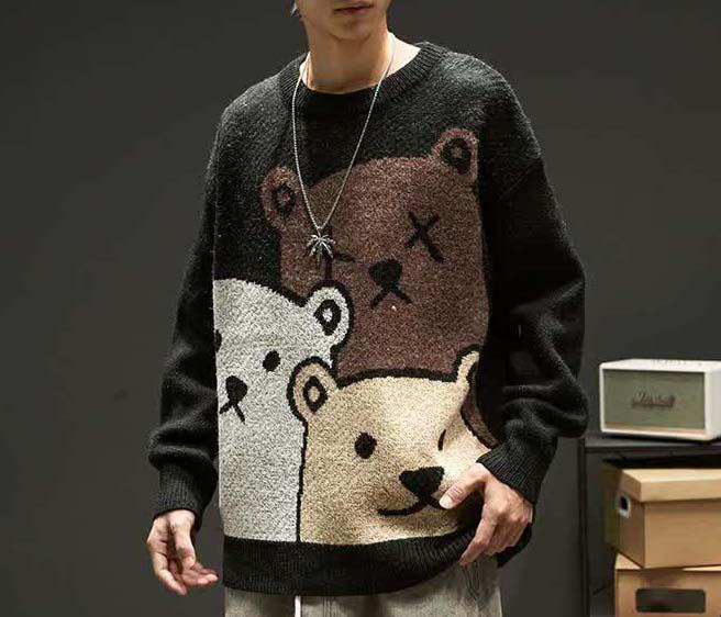 E-boy Harajuku Y2K Cartoon Bear Aesthetic Sweater 41