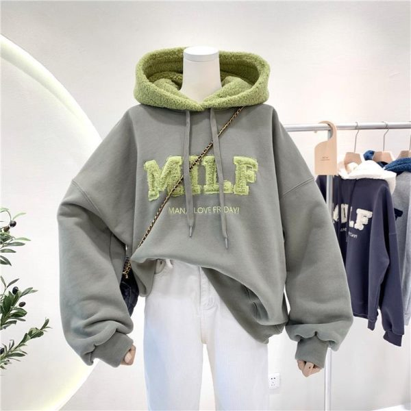 Harajuku E-girl Streetwear Thick Hoodies with Letters 8