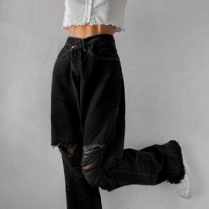 E-girl Punk Grunge Y2K High Waist Jeans with Holes 19