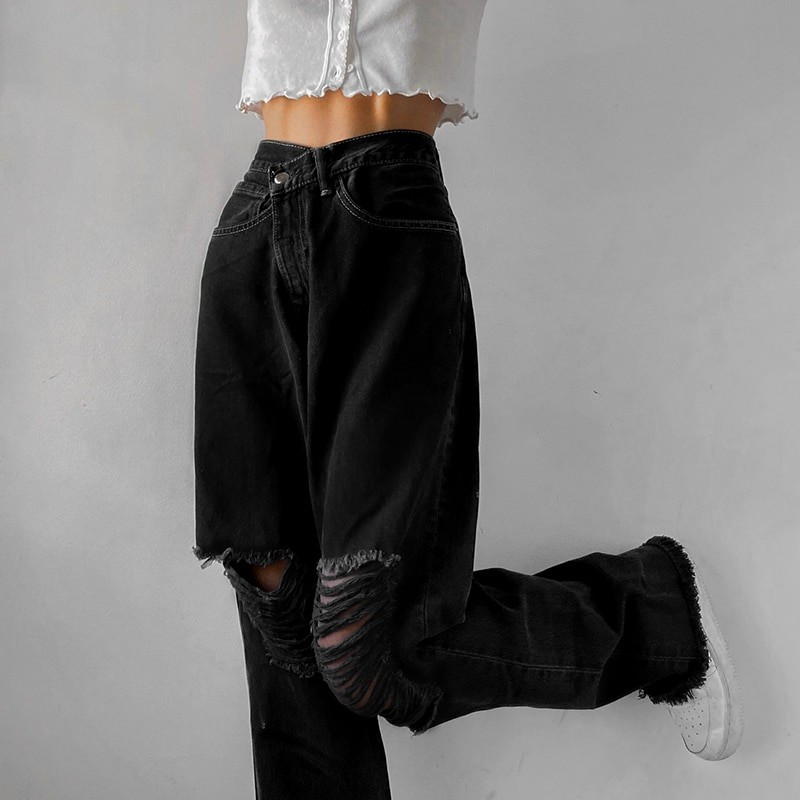 E-girl Punk Grunge Y2K High Waist Jeans with Holes 53