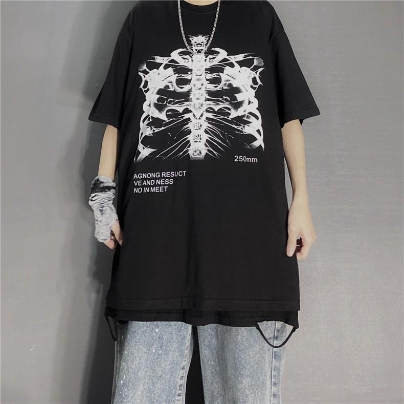 Gothic Punk E-girl Skeleton Print Funny T-shirt 42