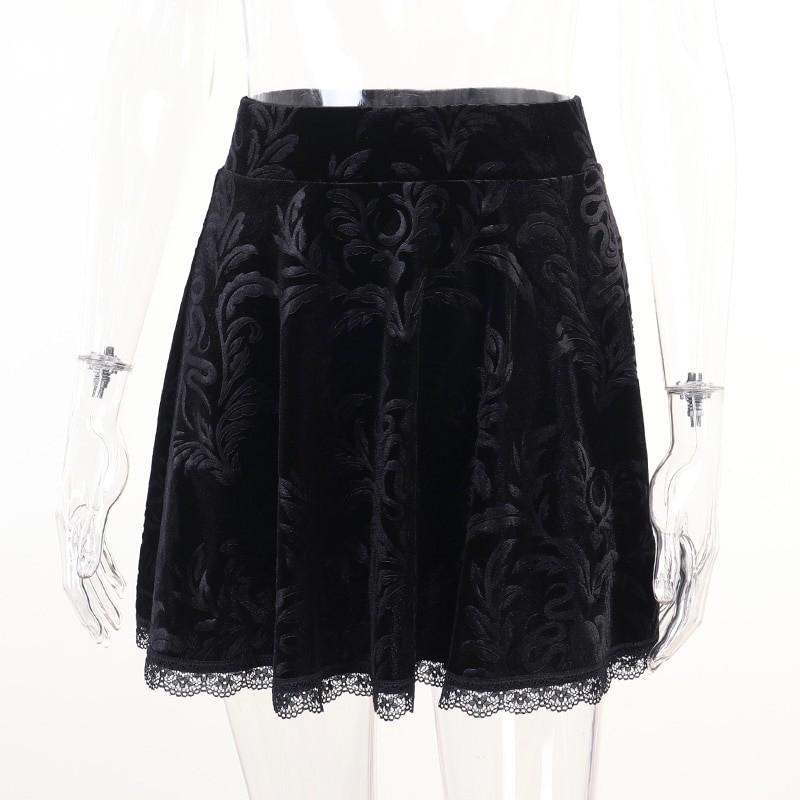 E-girl Pastel Gothic Velvet Skirt with Lace 44