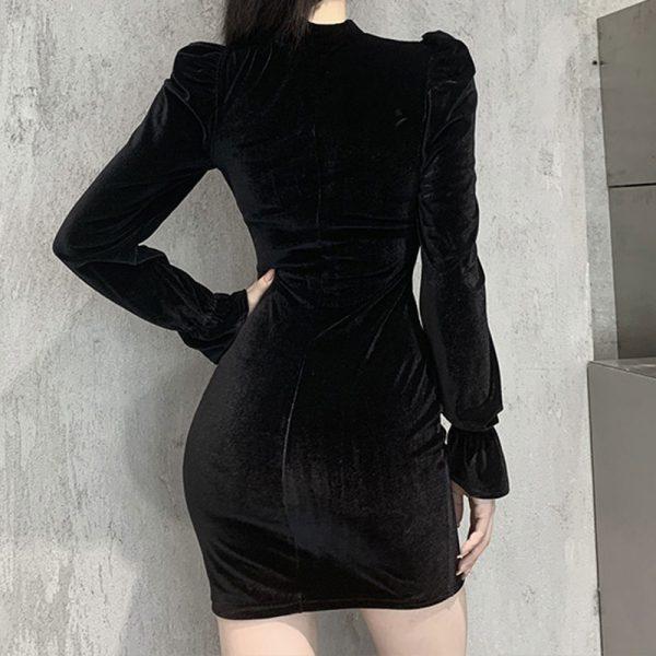 Gothic E-girl Vintage Elegant Black Velvet Dress 3