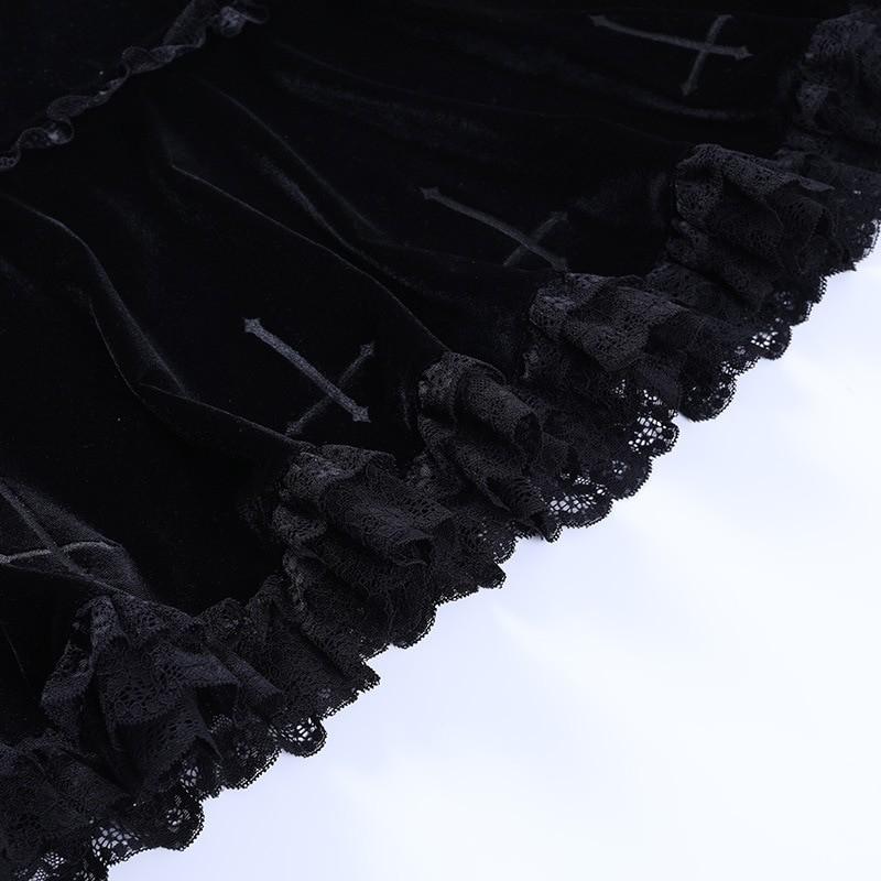 Aesthetic Pastel Gothic E-girl Velvet Mini Skirt with cross embroidery 45