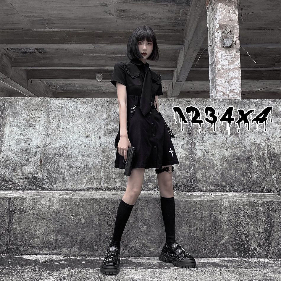 E-girl Pastel Goth Harajuku Dress with cross 41
