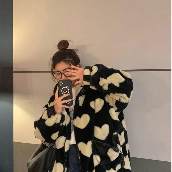Harajuku Kawaii E-girl Heart Print Plush Jacket 3