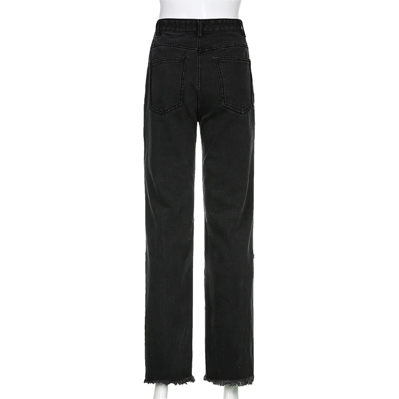 E-girl Punk Grunge Y2K High Waist Jeans with Holes 44
