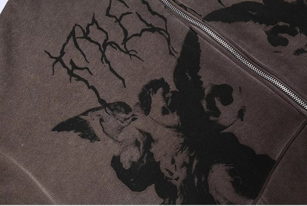 Harajuku E-girl Gothic Hoodies with Gothic VIntage Angel Print 6