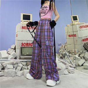 Punk E-girl Harajuku Y2K Purple Plaid Cargo Pants 1