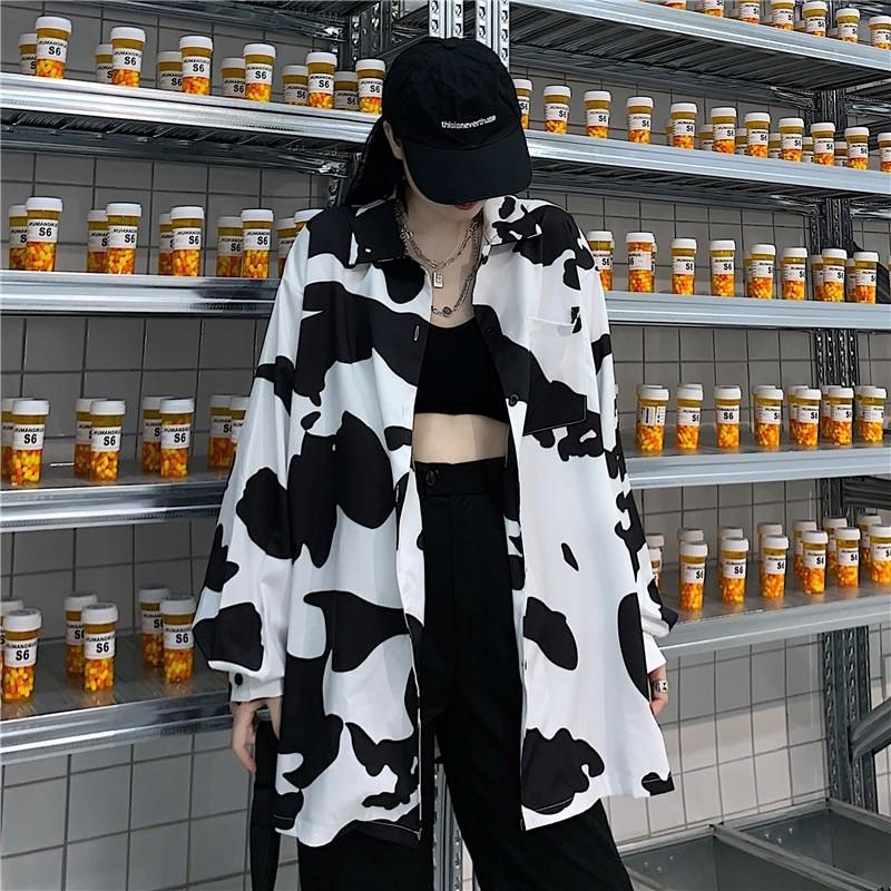 E-girl Harajuku Grunge Cow Print Loose Shirt 41
