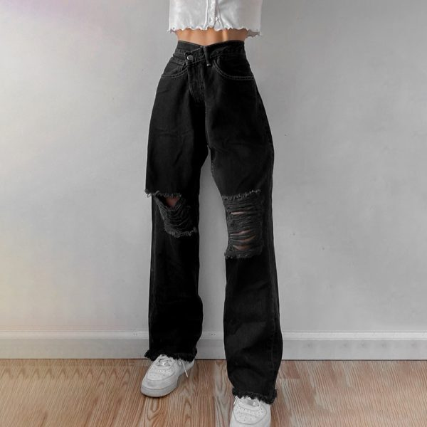 E-girl Punk Grunge Y2K High Waist Jeans with Holes 2