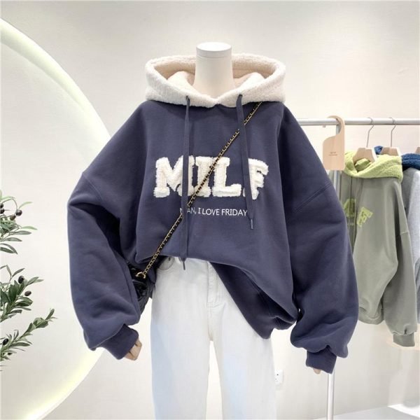 Harajuku E-girl Streetwear Thick Hoodies with Letters 16