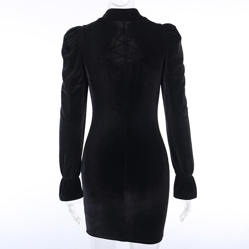 Gothic E-girl Vintage Elegant Black Velvet Dress 50