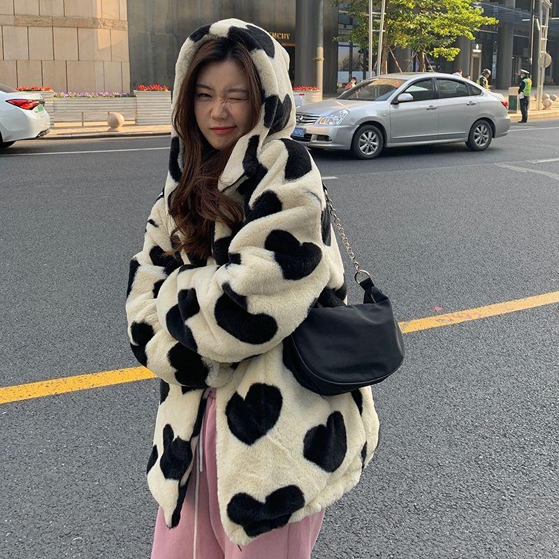 Harajuku Kawaii E-girl Heart Print Plush Jacket 45