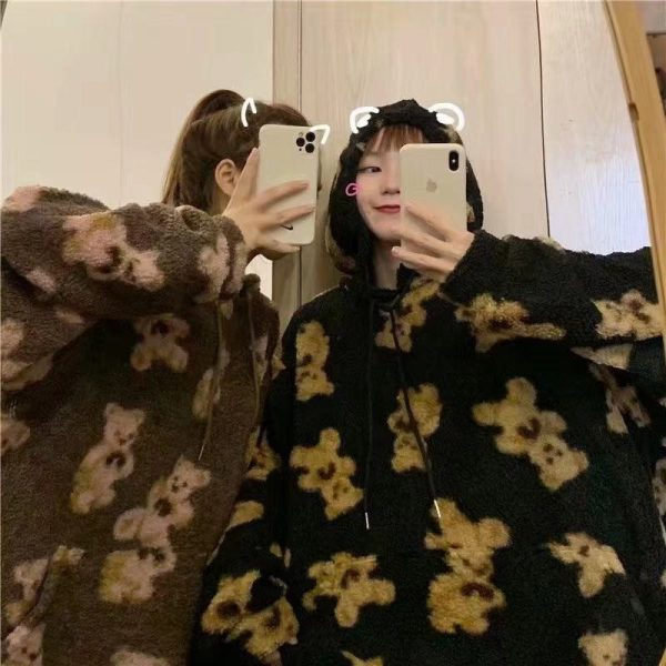 Harajuku Soft girl E-girl E-boy little bear Pattern furry Hoodie 4