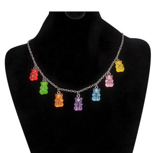 Indie Kid Soft Girl E-girl Y2K 7 Colors Rainbow Cute Bear Necklaces 1