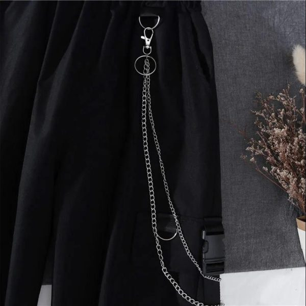 Alt Clothes Style Harajuku Set Cargo Pants with chain and Long Sleeve Swaetshirt 4